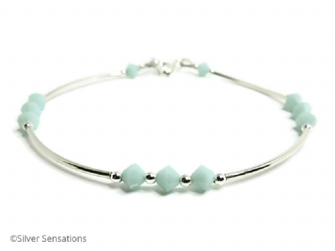 Mint Green Swarovski Crystals Elegant Sterling Silver Curve Tubes Bangle Bracelet